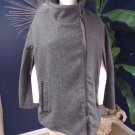 DKNY JEANS Gray Tweed Cape Poncho Wool Blend Zip Front M