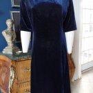 NWOT  LANDS END Blue Stretch Velvet Short Sleeve Midi Shift  Dress XL