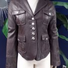 Nine West Brown 100% leather Military Jacket XS