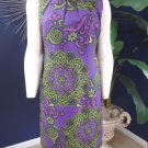 TAYLOR Purple Printed Linen/Silk Sleeveless Shift  Dress 6