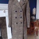 TALBOTS Brown Animal Print Wool Blend Coat Jacket 8