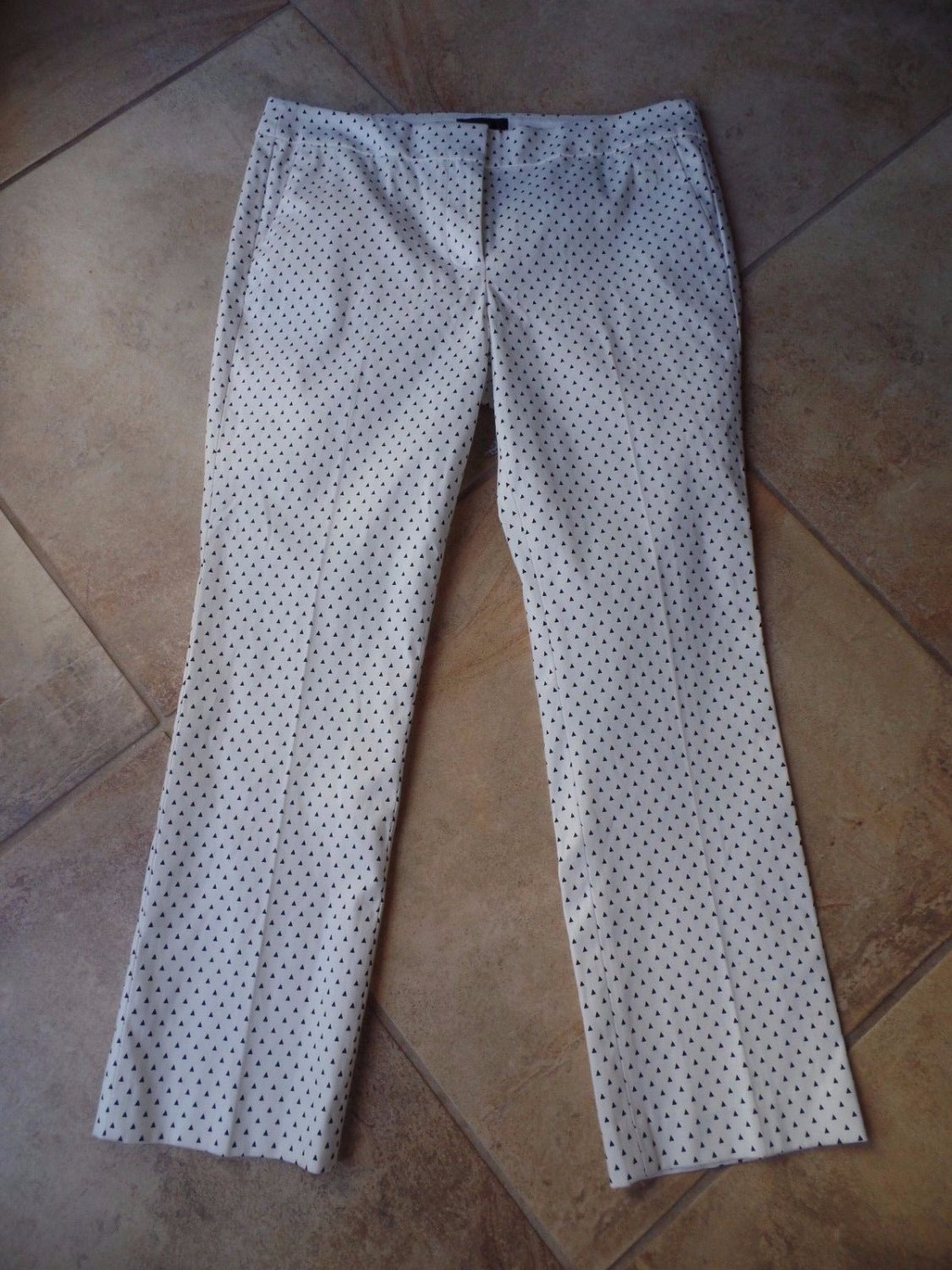 J CREW  Cotton Blend Campbell White/Black Triangle Cropped  Pants 8