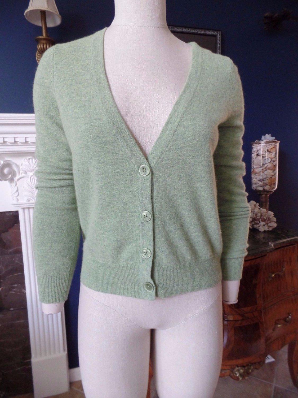 TALBOTS Green Lambwool Blend Cardigan Sweater S