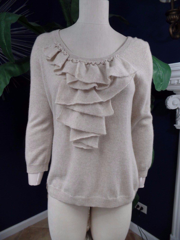 TALBOTS Beige Ruffled 3/4 Sleeve 100% Cashmere Sweater M