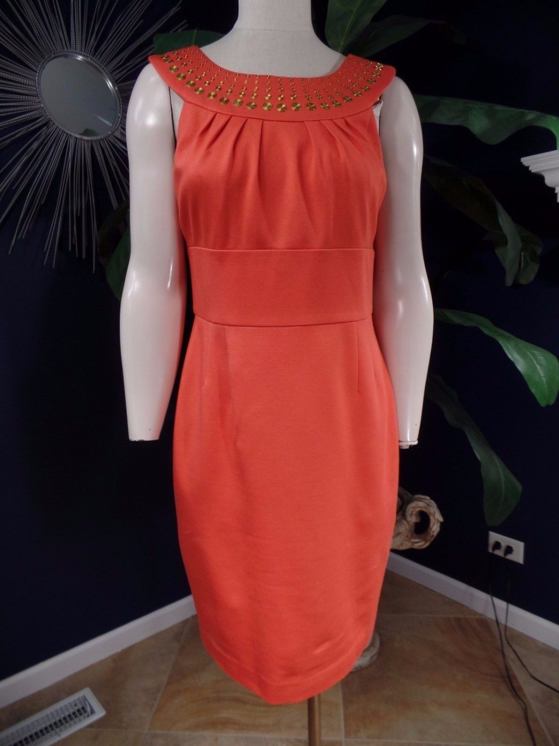 Trina Turk Orange Sleeveless Beaded Ponte Sheath Dress M