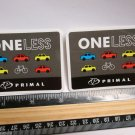 "TWO 3"" Primal ONE LESS CAR MTB  Bike Ride Mountain Frame Bicycle DECAL STICKER"