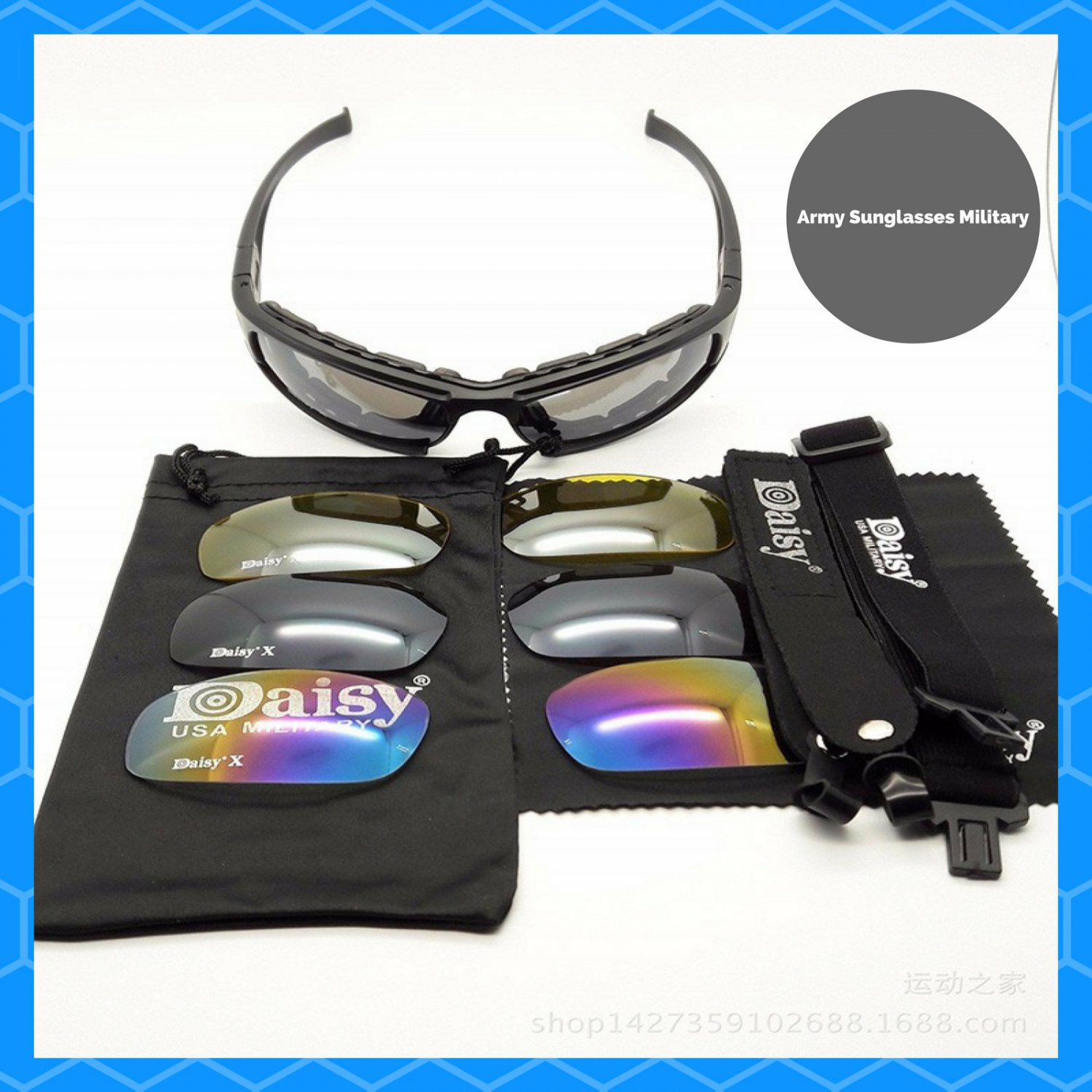 0d33eab7256 Daisy X7 Military Tactical Goggles Motorcycle Riding Glasses Sunglasses  Eyewear