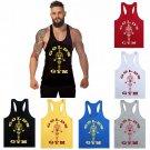 Gold Gym Top Tank Stringer Men Workout Fitness Shirt Bodybuilding Muscle Arnold