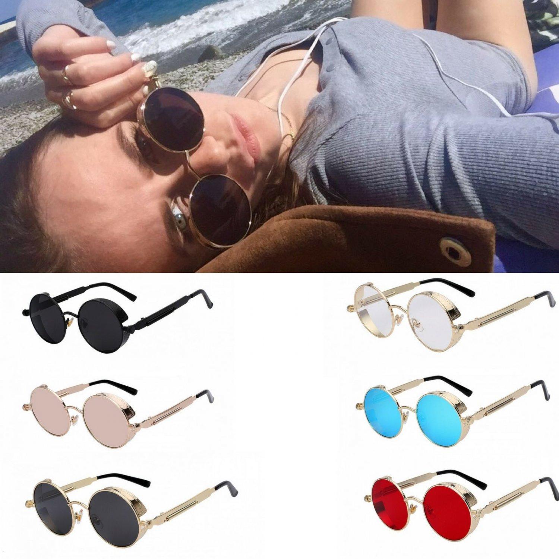 Round Metal Steampunk Sunglasses Men Women Fashion Glasses Mirror Style UV400