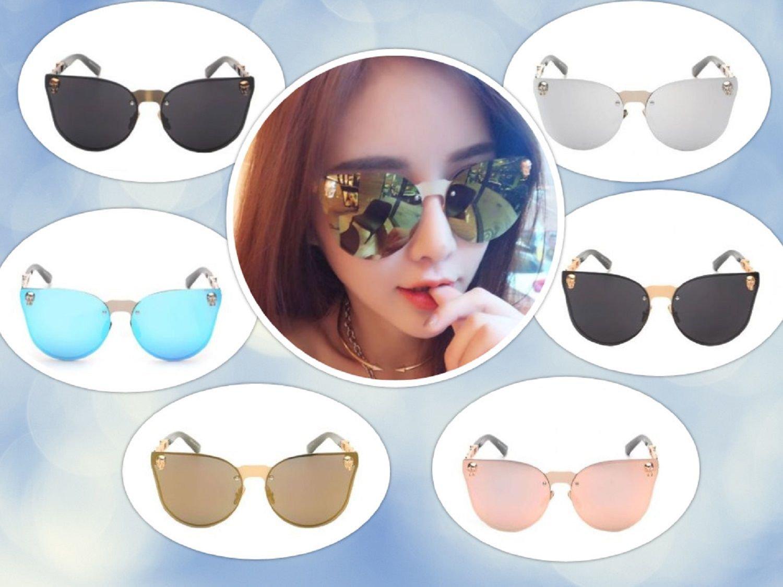 Fashion Women Gothic Eyewear Skull Frame Metal Sunglasses Mirror Lens Cat Eye