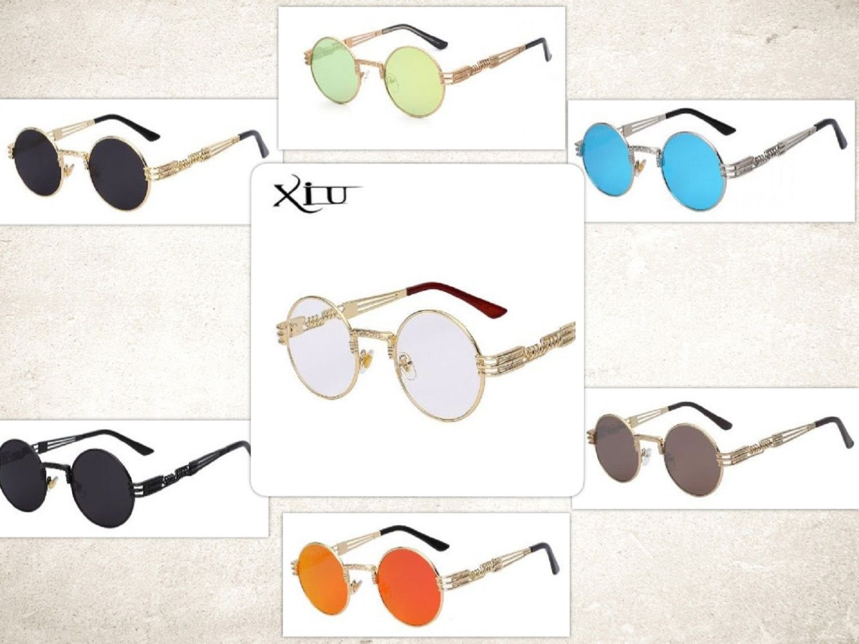 Steampunk Gothic Sunglasses Round Goth Men Women Metal Wrap Eyeglasses Shades