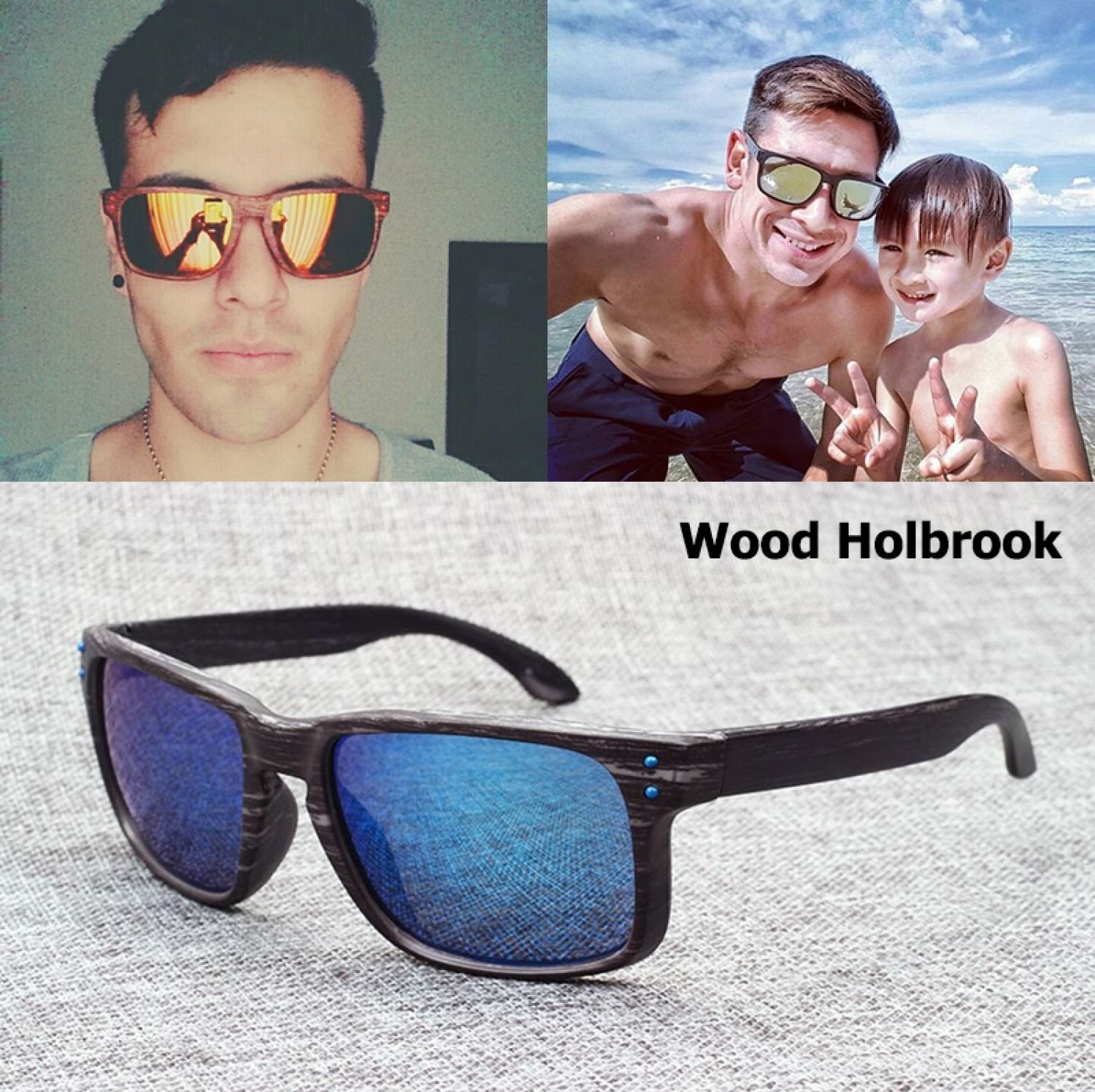Fashion Imitated Wood Wooden Grain Holbrook Sunglasses Men Retro Vintage Case