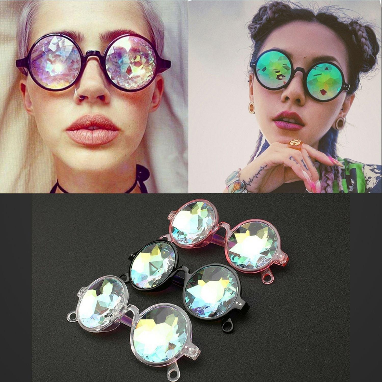 Kaleidoscope Sunglasses Catwalk Show Glasses Unisex Artificial Diamond Lens Punk