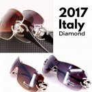 2017 Italy Oversized Sunglasses Women Mirror Diamond Big Frame UV400 Gold Sun