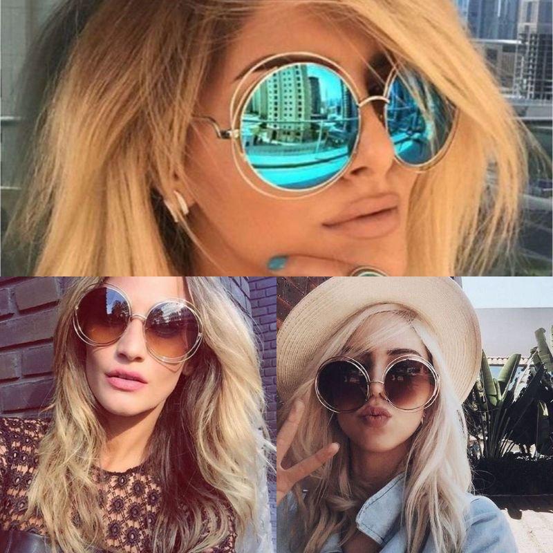 Vintage Oversized Sunglasses Round Big Lens Mirror Glasses Fashion Women Retro