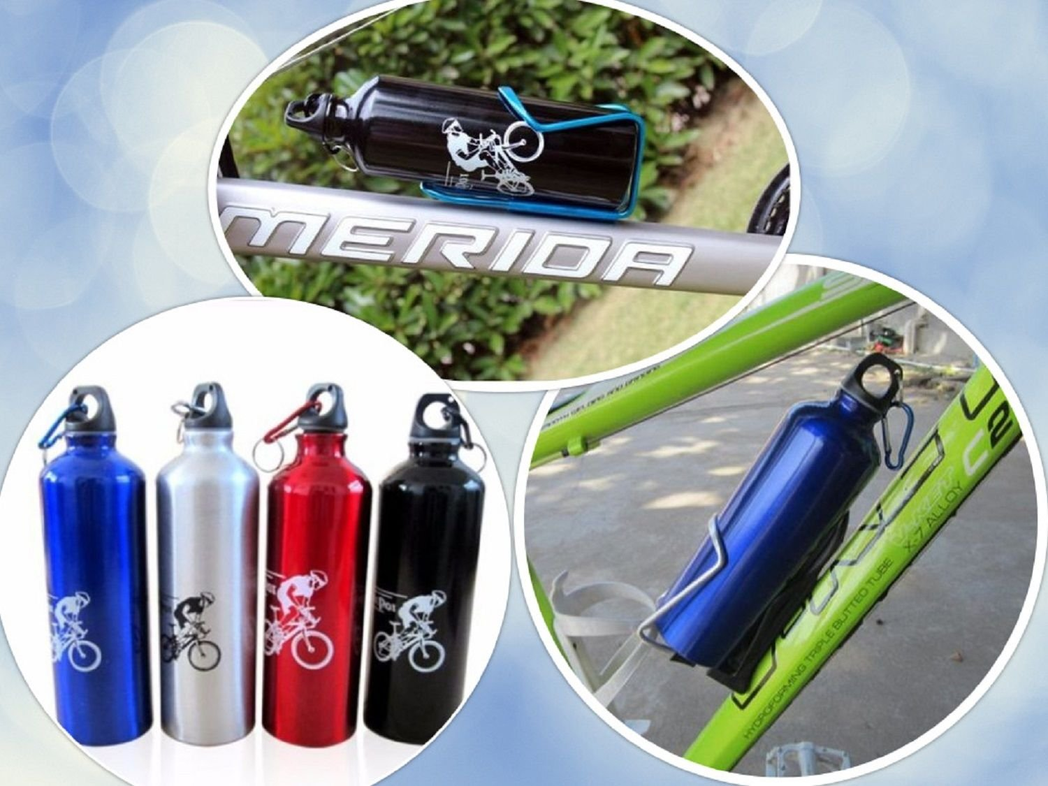 Water Portable 750ml Cycling Alloy Bicycle Aluminum Bottle Kettle Camping Sport