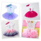 1st Birthday Party Baby Girl Princess Clothing Outfits Infant Cloth 3 pcs/Set Tu