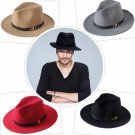 Wool Hat Gentleman Men's Black Dad Fedora Hats Woolen Wide Brim Jazz Church Cap