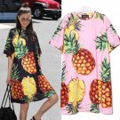 Spring Black Pink Pineapple Printed Dress O-Neck Half Sleeve Cute Euro Women New