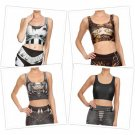 Steampunk Top Crop Cropped 3D Digital Print Woman Tops Sleeveless Fitness New