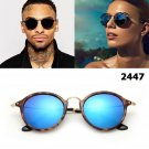New 2017 Fashion Classic Vintage 2447 Round Style Sunglasses Men Women Luxsury