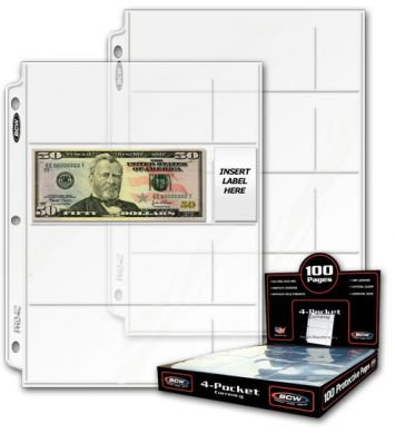 BCW Pro 4-Pocket currency Page (Qty = 25 Pages)