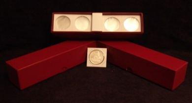 "2"" x 2"" Lg Dollar Cardboard Coin Flips w/Red storage boxes. (100 per box"