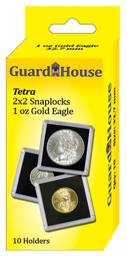 """2""""x2"""" One Oz  Ounce Gold Eagle Clear Snap Display Slabs (QTY = 10 Slabs)"""