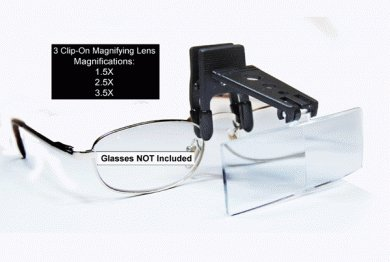 3 Piece Clip-On Eyeglass Magnifier 1.5x, 2.5x and 3.5x Magnification