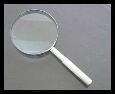 """4x / 3-1/2"""" Hand Held Magnifier, Brass Chrome Plated Body, Glass Lens"""