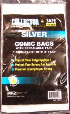 Silver Comic  Bags w/Resealable Tape