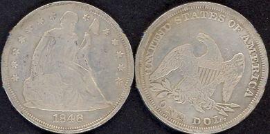 **REPLICA**1846 Seated Liberty Silver Dollar