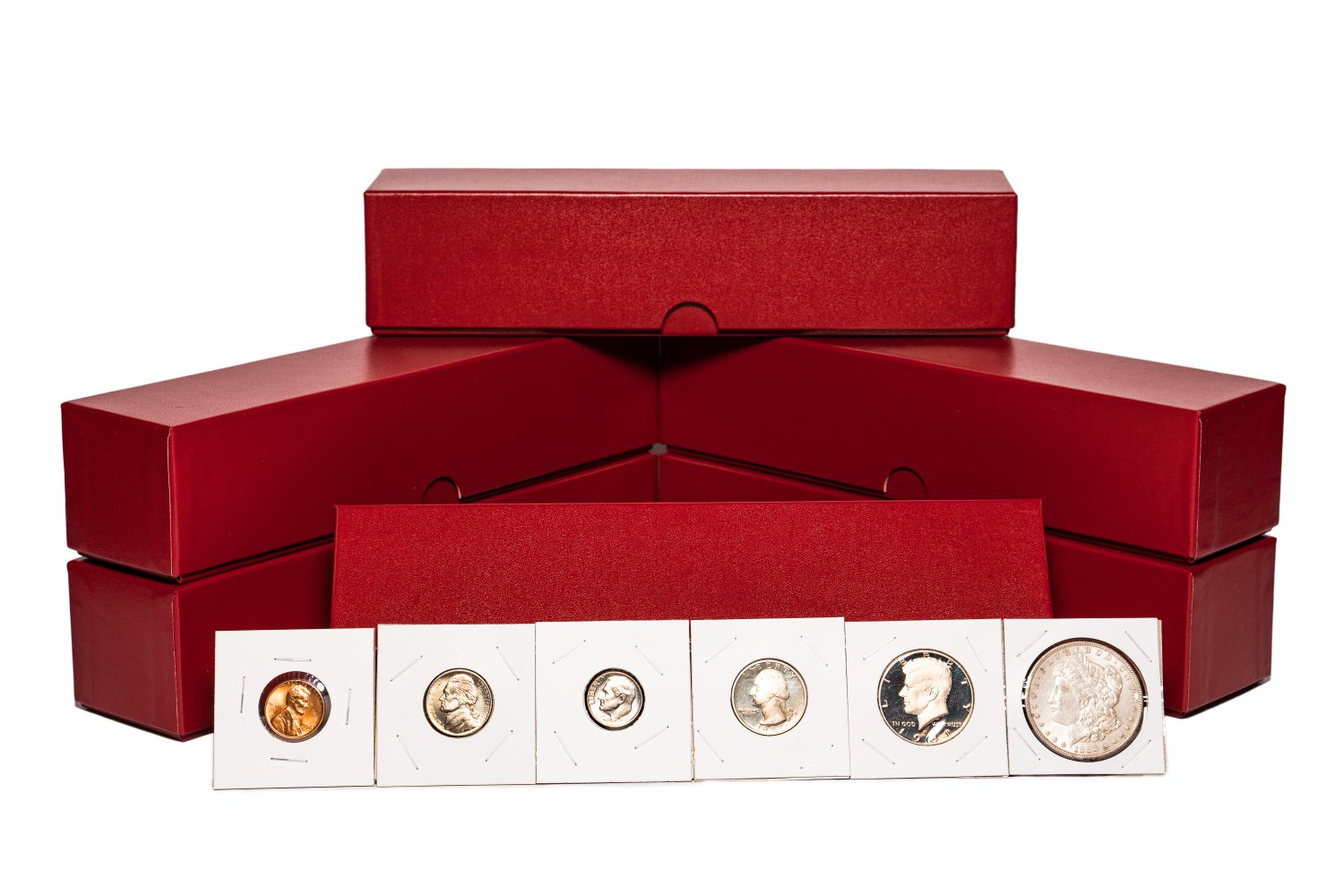 "2"" x 2"" (6 Pack) Coin Flips Asortment w/Red storage boxes. (600 Coin Flips)"