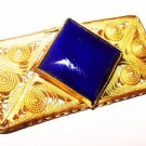 "Blue Art Glass Brooch Signed Czechoslovakia Cannetille Filigree Gold Filled Art Deco 1 3/4"" Vintage"