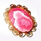 "Pink Oval Limoge Art Glass Brooch Pendant Gold Heart Scroll Frame 2 1/4"" Vintage"