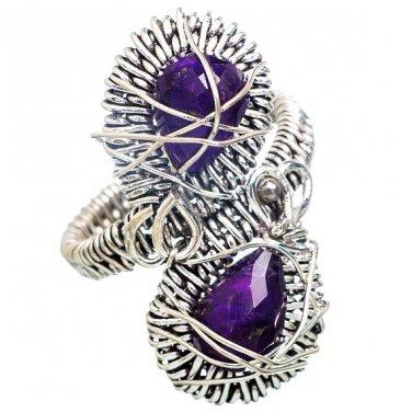 Amethyst Wire Wrap Ring 925 Sterling Silver Double Teardrop Stones Sz 8 new
