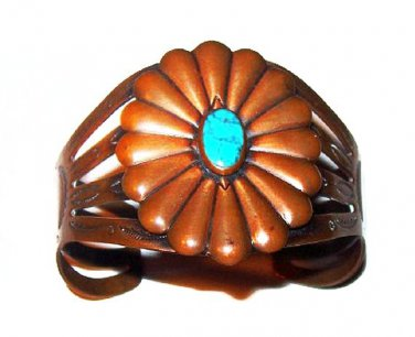 """Copper Turquoise Cuff Bracelet Signed """"Bell Copper"""" Native American Symbols 1 3/4"""" W Vintage"""