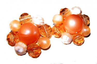 """Peach Cluster Clip On Earrings Lucite Opaque Beads Pin Wired Brass 1 1/4"""" Vintage"""