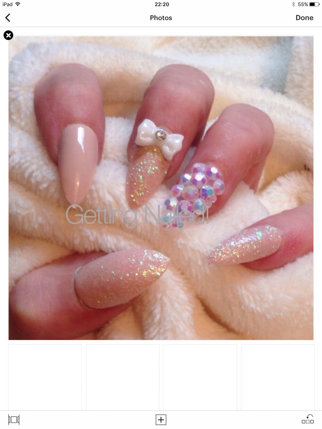 Hand painted nude full false nails