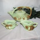 McCOY PINE CONE ART POTTERY TEA SET GREEN BROWN VINTAGE USA 1940's TEAPOT