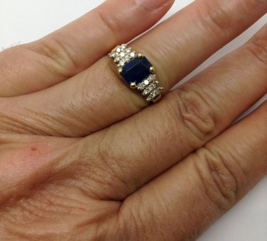 LeVian, 14k gold, genuine Diamond, blue sapphire, designer, fashion ring