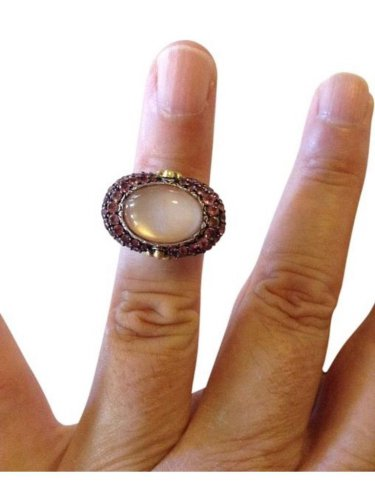 185.Barbara Bixby, .925 sterling silver, 18k, Mother of pearl, pink Quartz ring
