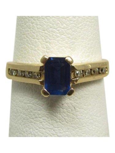 14k yellow gold, genuine Diamond, blue sapphire, designer, fashion ring