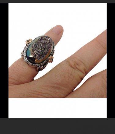 Barbara Bixby Sterling Silver 18k Druzy Statement Fashion Ring