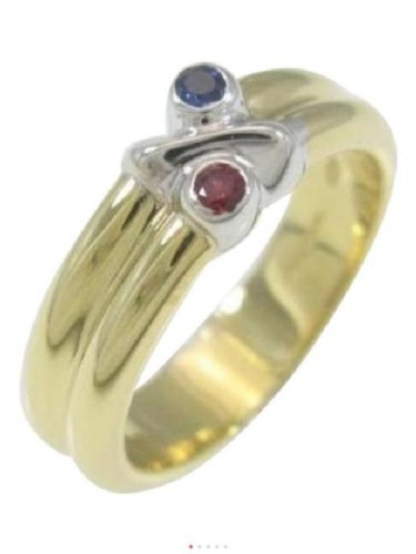 Tiffany & Co., 18k White & Yellow Gold, 2 Tone, Red Ruby, Blue Sapphire, Ring