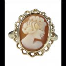 10k Yellow Gold Cameo Filigree Fashion Ring