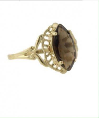 10k Yellow Gold 1ctw Smoky Topaz Art Deco Fashion Ring