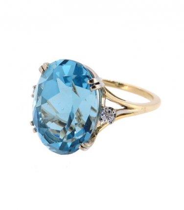 14k yellow gold, blue topaz, genuine Diamond, cocktail, statement, fashion  ring