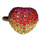 LeVian, 14k, red, orange, yellow sapphire, heart shaped, fashion, statement ring