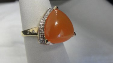 LeVian, 14k yellow gold, Orange Cabochon gemstone, genuine Pave diamonds, ring